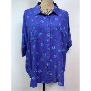LuLaRoe Amy Top Dolman Style Blue Size XL NWT